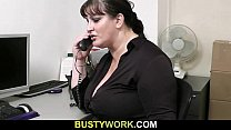 Busty bitch gets slammed at workplace thumbnail