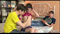 Marvelous beauty is entertaining two wild and  lascivious hunks