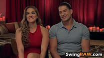 Muscular stud and his girlfriend having an amazing fun with other swingers