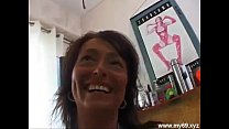 Brunette ger man MILF with perfect tits plays with cucumber