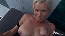 Povbitch Busty milf cleaning lady was bad & pun...