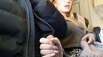 PUBLIC AIRPLANE Handjob and Blowjob - Bella Mur