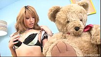Gorgeous Hatsuka Kobayashi with her Teddy toys her body