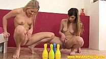 Pissing teen duo play a little naked bowling pornhub video