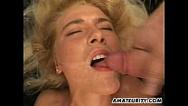 Blonde amateur girlfriend home gangbang with facials thumbnail