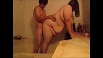 Cheating Wife Fucks Guy In Shower While Husband Eatting