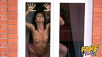 Fake Hostel - Brunette backpacking babe with nice natural tits picked up on a road journey sucks cock in the car before being fucked all around the hostel preview image