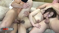 Father and son fuck an asian bitch