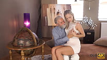 OLD4K. Nymph rewards old teacher for help by tempting him into hot sex