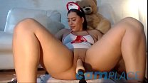 Martinna, chubby cam girl gets penetrated by a fuck machine while wearing a nurse outfit