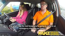 Fake Driving School hot Italian learner with big natural tits fucks for her exam