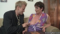 Old granny in stockings gives head and rides cock