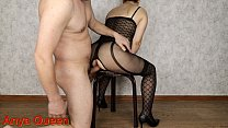 Lovely woman in bodystocking and high heels takes turns: fingers, dick, a huge load on nylon - Anya Queen