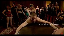 Stunning dominatrix makes her slave lick her sh...