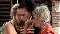 Outdoor lesbian threesome with teen horny stunners