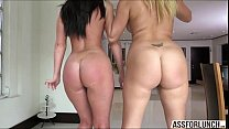 2 chicks with big asses gets rammed hard by their friend
