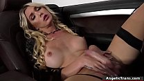 Horny blonde TS gets bareback in the car