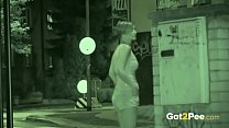 Public Pissing - Night vision catches a hot European peeing outside porn image