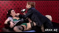 Gorgeous mature lesbian playgirl gets her shaved pussy toyed