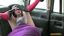 Damn hot brunette rides Scottish dick inside the taxi