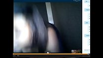 Sexy black girl shows tits and big ass for white dick on Skype