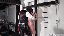 Obese slave spanking of fat Nimue Allen in ugly dungeon punishment and corporal thumbnail