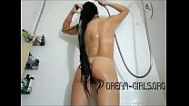 Sexy Teen Shower Washing Long Hair Playing Teasing