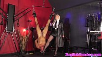 Mistress dominates suspended sub with dildo