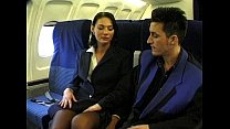 Brunette beauty wearing stewardess uniform gets fucked on a plane - download porn videos
