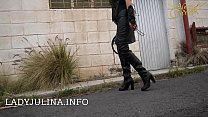 Mature Smoking German Mistress Public Walking Leather Boots Whip