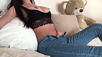 Fit Teen Fingering her Clit in Tight Jeans with Anal Plug