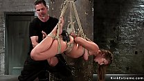 Brunette hogtied and toyed in the air