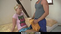 European blonde takes rough throat and pussy pu...