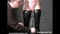 Slavegirl Cherry Torn hooded and pussy tortured in extreme hellpain bdsm session