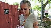 Friendly stunning blonde bangs outdoor pov