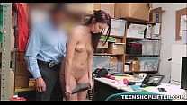 Young Teenager With Small Tits Caught Shoplifting Makes Fuck Deal With Officer