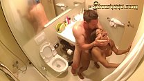 HIDDEN CAM - interracial cheaters caught fucking in the bathroom
