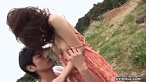 Japanese babe, Aya gave a blowjob to her boyfriend, uncensored