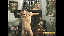 Busty milfs play with a skinny loser in the dungeon-6 video