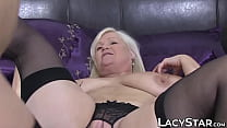 Busty blonde granny has lesbian sex with a young slut thumbnail