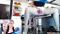 White high heels office fun with squirting on the floor   LIVE ON blondikva.hot4cams.com