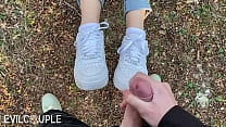 Long Tongue gives Blowjob in the Woods and Receive Cumshot on her Nike Air1