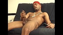 Fit hunk with great abs plays with his huge tool at home