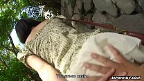 Adorable Asian brunette rubbing her soaking wet...