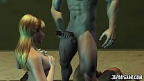 Naive blonde 3D animated babe gets double penet...