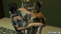 Naive blonde 3D animated babe gets double penetrated by two men and she is loving it!