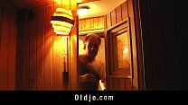 European hottie fucking old guy in the sauna cumshot swallow image