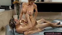 Big breasts milf masseuse gives massage preview image