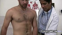 This sexy older doctor is having his hunk patient cum in a jar