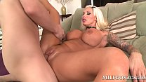 MILFGonzo busty tattooed blonde Lolly Ink fucks a big dick porn thumbnail